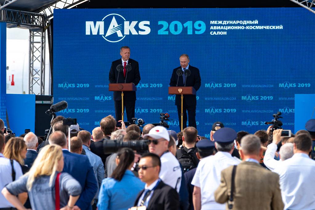 Президент Российской Федерации Владимир Путин и его коллега, Президент Турецкой республики Реджеп Эрдоган